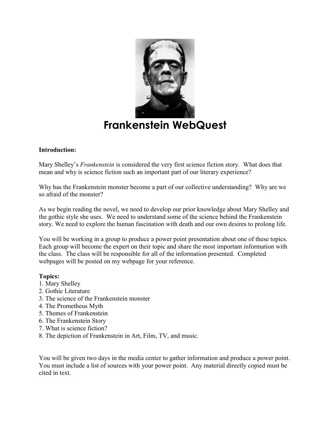 Frankenstein essay topics