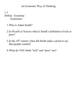 economics definition adam smith