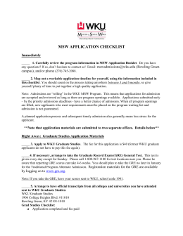 MSW Application Materials - Western Kentucky University