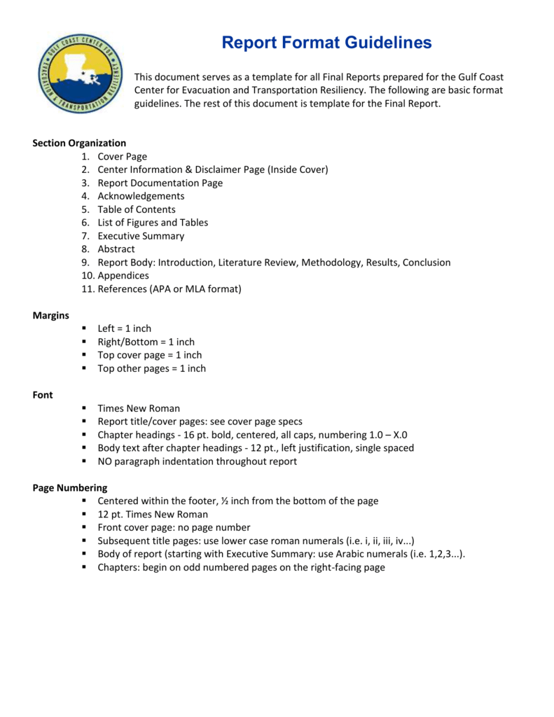 Executive Summary Gulf Coast Center for Evacuation and – 1 Page Executive Summary Template