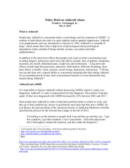 Policy Brief on Adderall Abuse, 2013