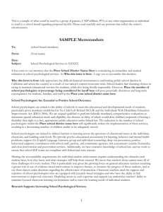 [The following memo was submitted by NASP in support of school