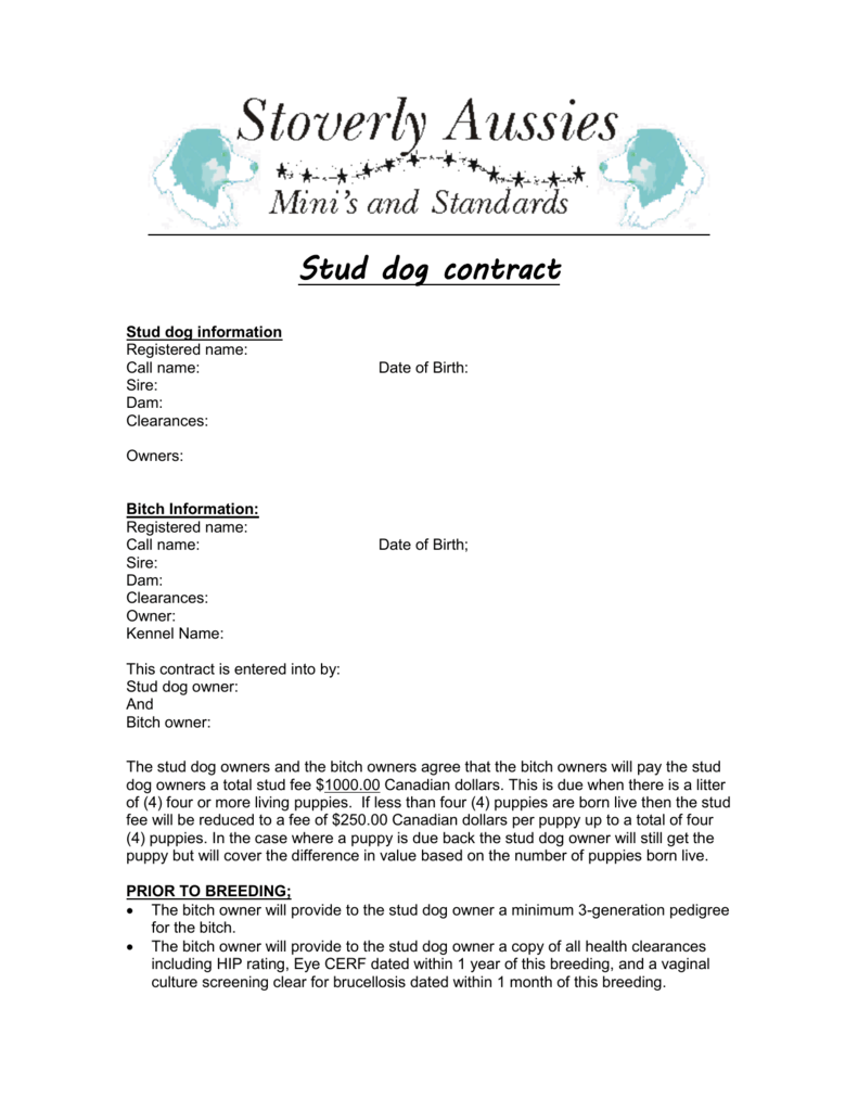 Dog Contract Yelomdiffusion