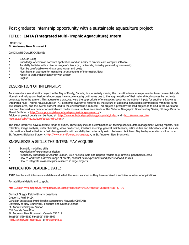 Post graduate internship opportunity with a sustainable aquaculture