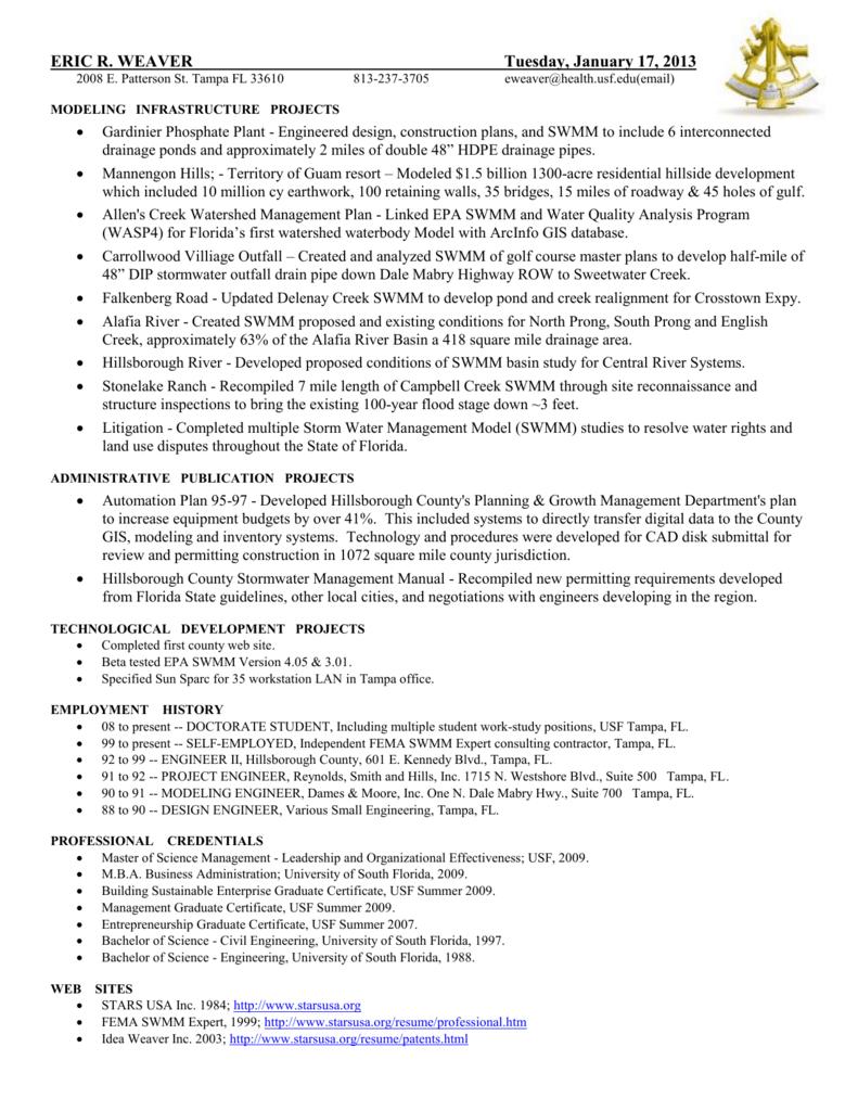 Resume - Eric RR Weaver - University of South Florida