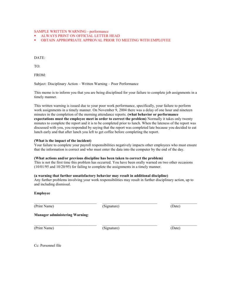 Employee Warning Letter For Poor Performance from s3.studylib.net