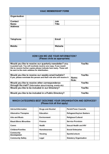 Membership Form January 2013 - Voluntary Action Arun & Chichester
