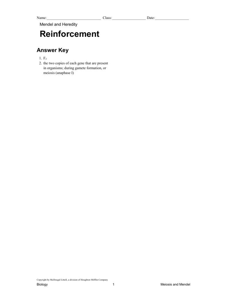 worksheet Mendel And Meiosis Worksheet Answers ch6sec3 reinforce mendel hered