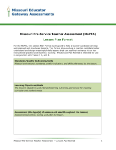 Lesson Plan Format (Word) - The Missouri Performance Assessments