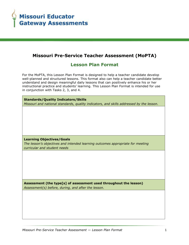 Lesson Plan Format Word The Missouri Performance Assessments