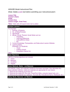 ASSURE lesson plan template