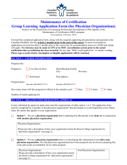 Maintenance of Certification –Accreditation Application