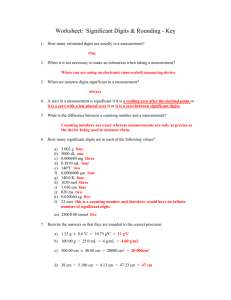 3: Worksheet: Significant Digits & Rounding