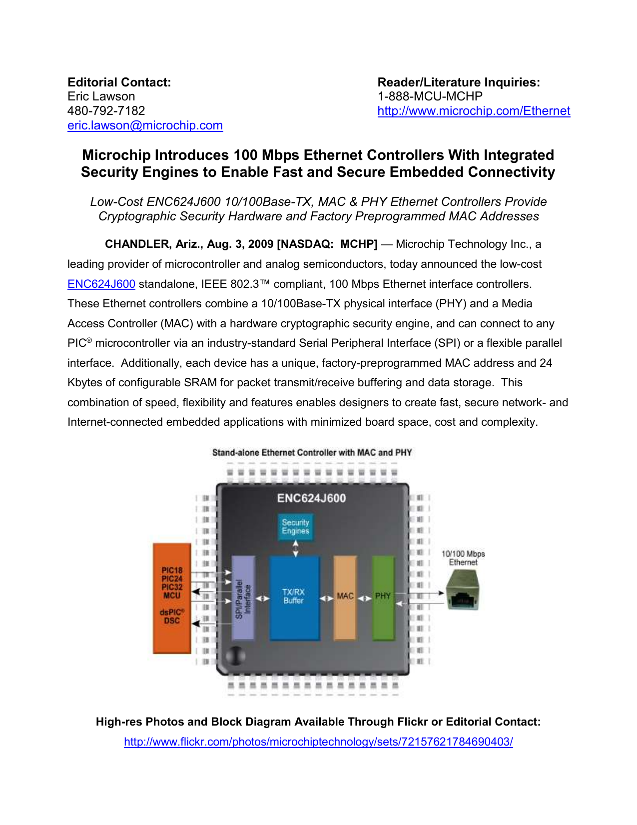 Microchip Introduces 100 Mbps Ethernet Controllers With Integrated
