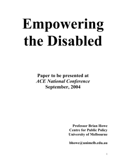 The story of reform in disability reform in Australia is one of stops