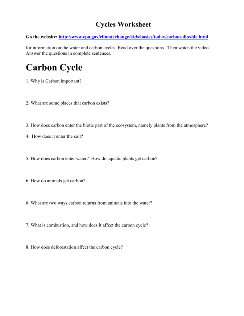 Cycles Worksheet - Coach Nowell