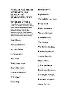 PHRASES AND SHORT SENTENCES FOR REPREATED