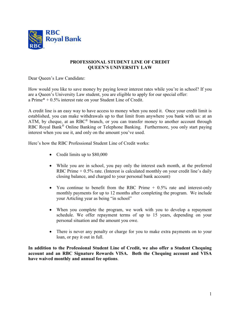 Information on Professional Student Lines of Credit from RBC