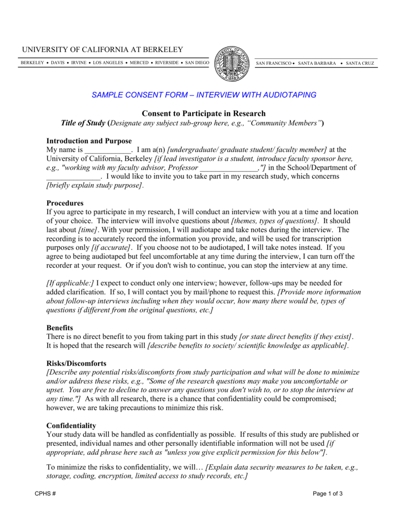Sample Consent Form Interview with Audiotaping – Interview Consent Form