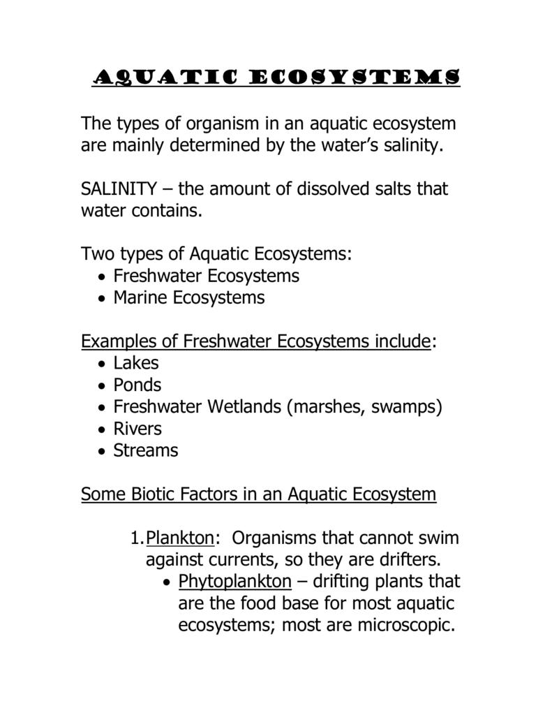 Aquatic Ecosystems notes