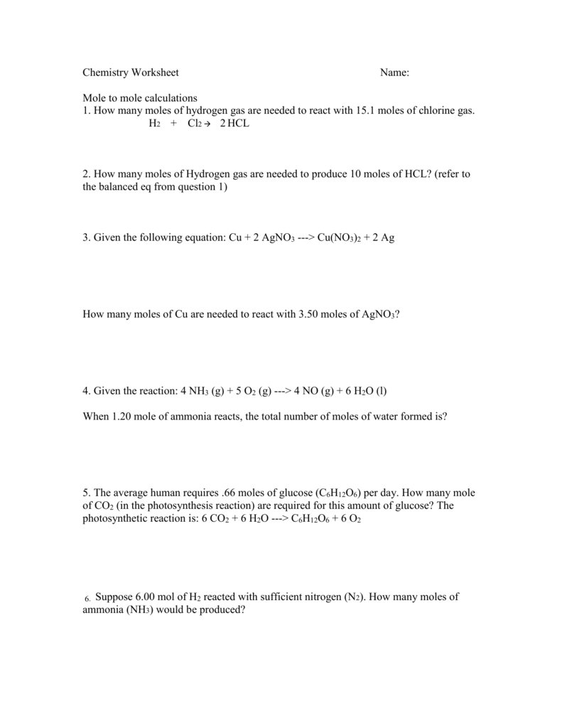 Mole to Mole Worksheet – Mole Calculations Worksheet