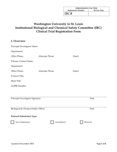 IBC Protocol (Clinical Trial) - Washington University in St. Louis