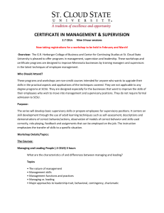 CERTIFICATE IN MANAGEMENT & SUPERVISION 2.7 CEUs Nine