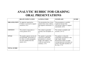 ANALYTIC RUBRIC FOR GRADING ORAL PRESENTATIONS