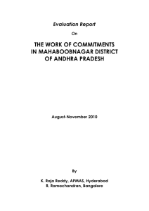 Evaluation Report On THE WORK OF COMMITMENTS IN