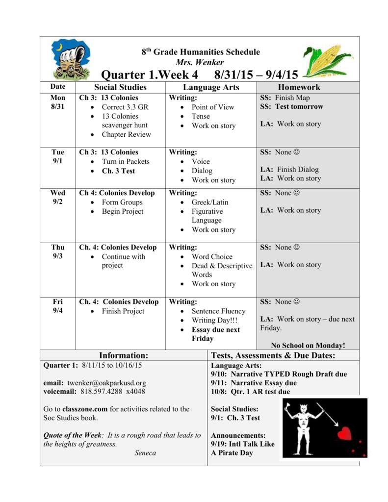 8th Grade Humanities Schedule Oak Park Unified School District