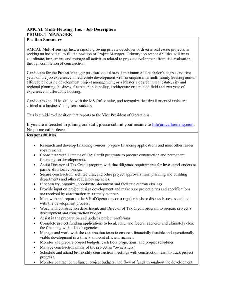 real estate project manager job description