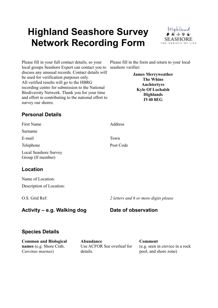 Highland Seashore Survey Network Recording Form