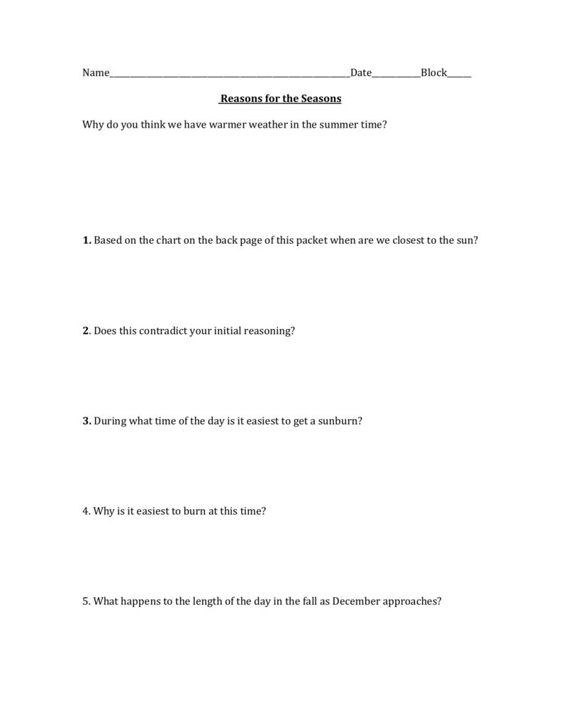 Worksheets Reasons For Seasons Worksheet reason for seasons worksheet