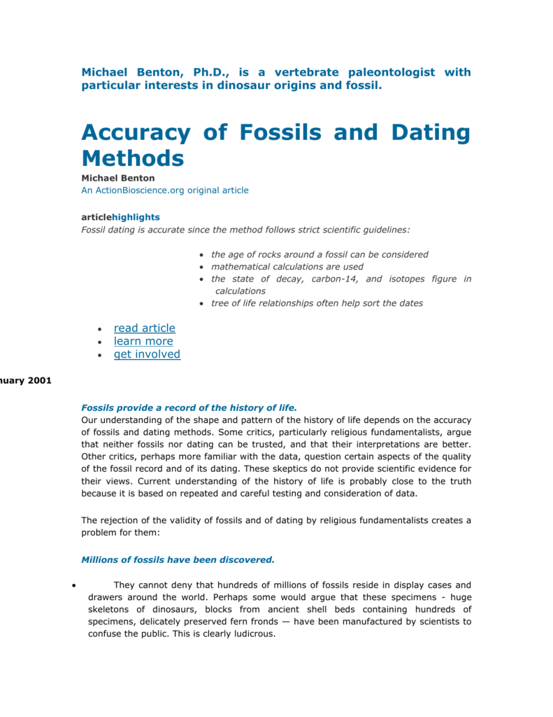 accuracy of fossils and dating methods