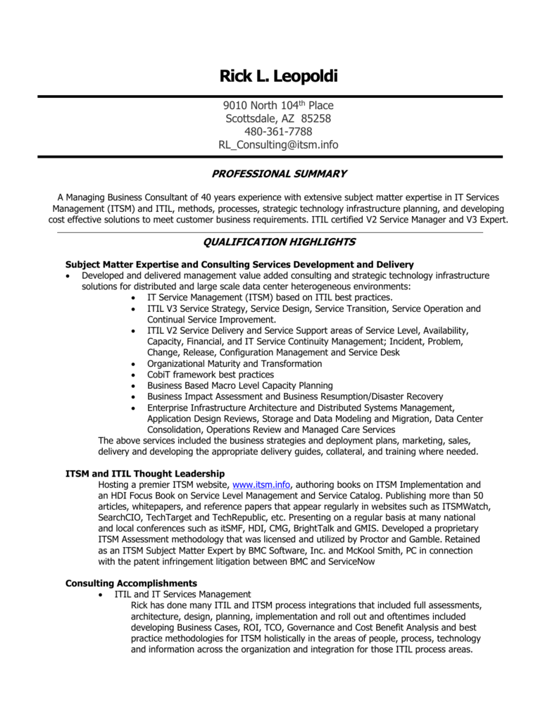 Itil Itsm Resume Examples