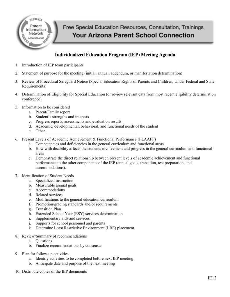 Ie12 Iep Meeting Sequence Agenda