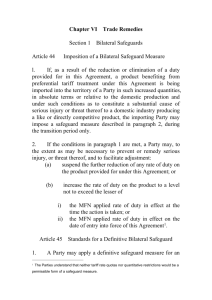 Chapter VI Trade Remedies Section 1 Bilateral Safeguards Article