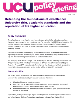 Defending the foundations of excellence: University title