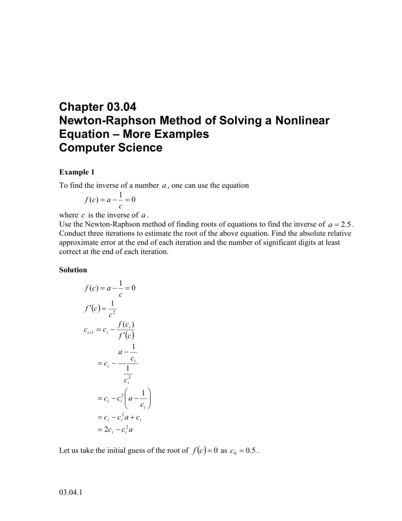 Newton-Raphson Method of Solving a Nonlinear Equation – More