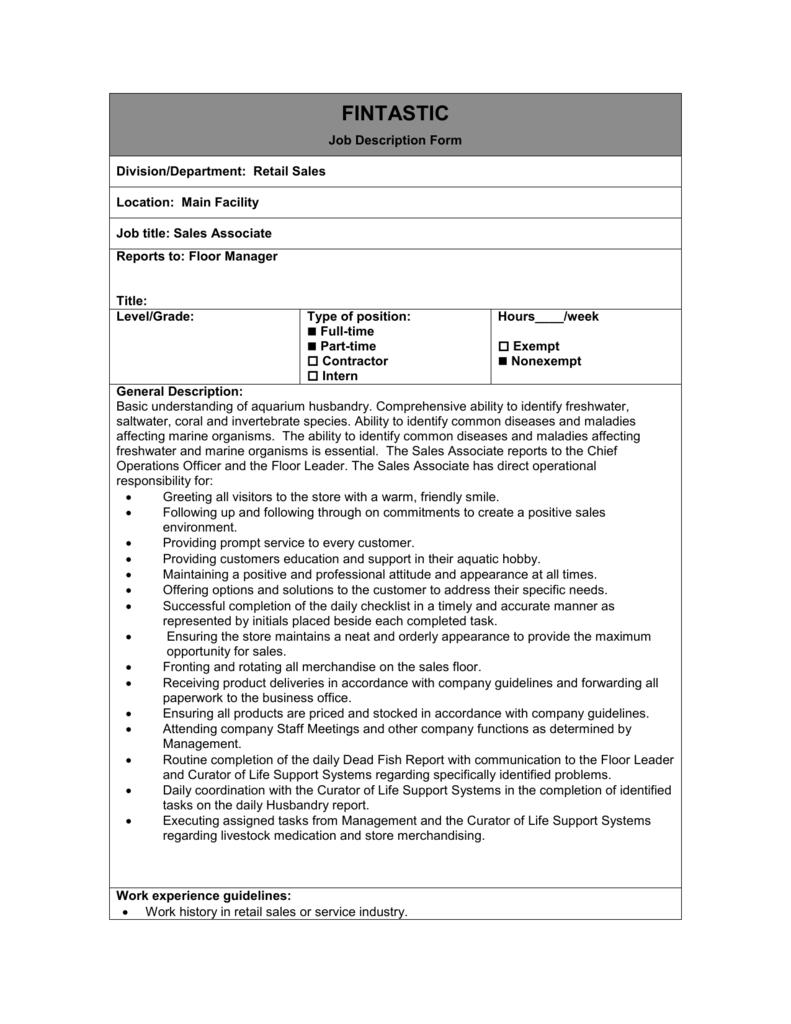sales associate job description macys
