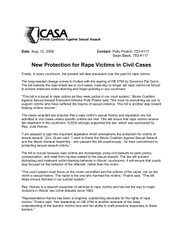 New Protection for rape victims in Civil Cases