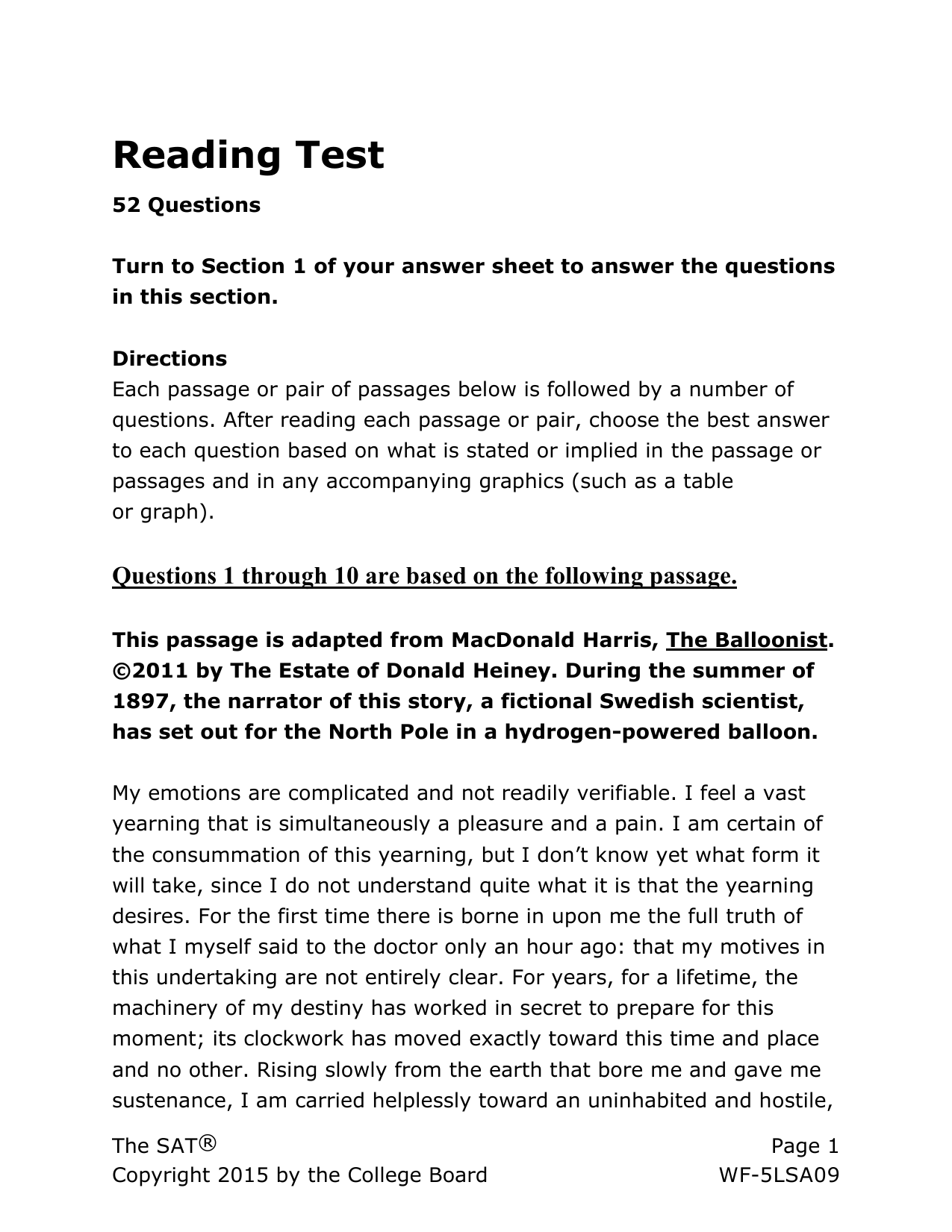 SAT Practice Reading Test 4 for Assistive