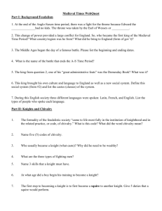 Worksheet Knights, Chivalry, Armor and Weapons Medieval Period