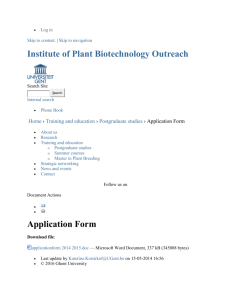 Application Form — Institute of Plant Biotechnology Outreach