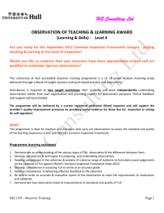 OBSERVATION OF TEACHING & LEARNING AWARD