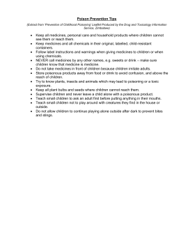 Poison Prevention Tips (Extract from `Prevention of Childhood
