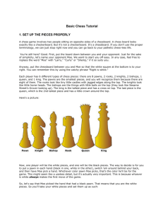 Basic Chess Tutorial 1. SET UP THE PIECES PROPERLY A chess