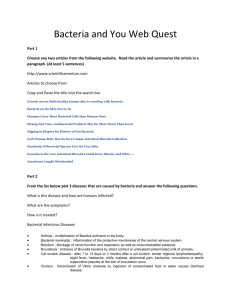 Bacteria and You Web Quest Part 1 Choose any two articles from