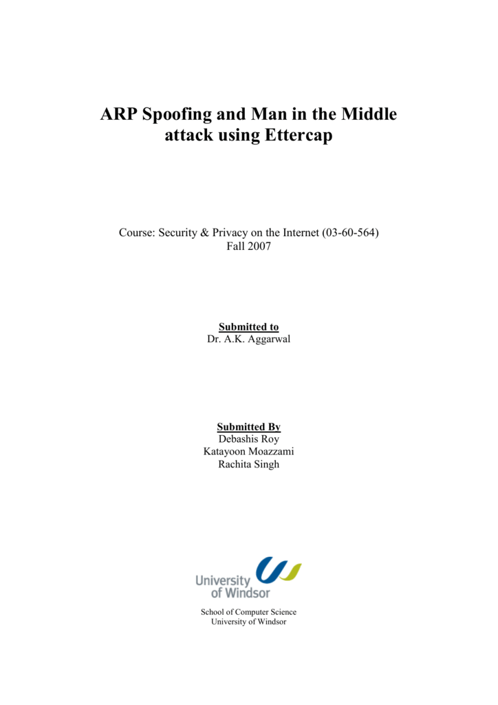 ARP Spoofing and Man in the Middle attack