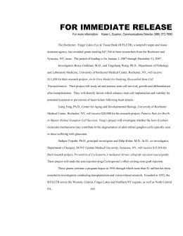 FOR IMMEDIATE RELEASE - Rochester Eye and Tissue Bank